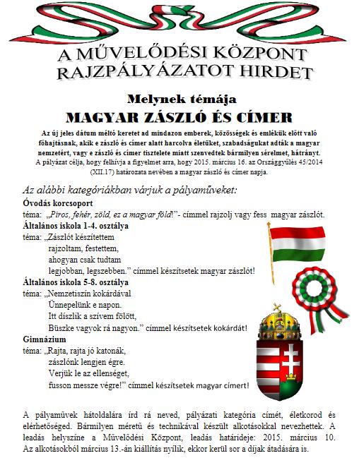 A MŰVELŐDÉSI KÖZPONT RAJZPÁLYÁZATOT HIRDET
